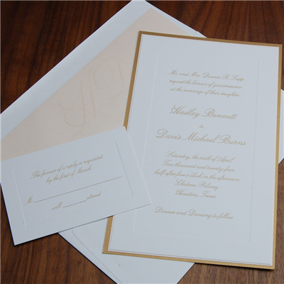Chateau, layered invitation by Checkerboard features an embossed frame and classic, traditional script layout.