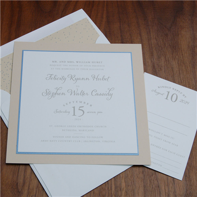 Epitome layered invitation by Checkerboard features a contemporary date setting and fun calligraphy accent.
