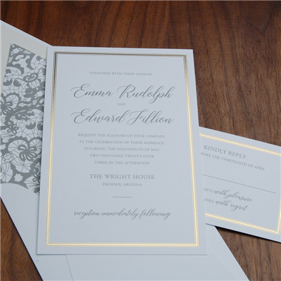 Estate wedding invitation by Checkerboard features a gold foil frame and a modern-traditional text setting