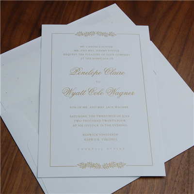 Ballad Wedding Invitation by Checkerboard features gold thermography on a delicate leaf pattern and simple frame.  Traditional, classic, and elegant!