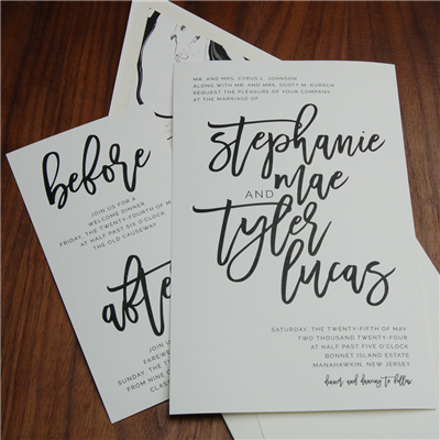 Current Wedding Invitation by Checkerboard uses a bold brush script for names in black thermography