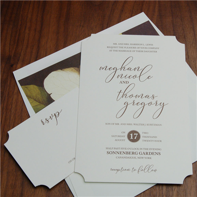 Plantation wedding invitation by Checkerboard is a modern-yet-traditional style with pretty corner embellishment