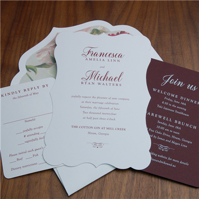 Bordelais wedding invitation by Checkerboard features a pretty die-cut shape and one-color thermography
