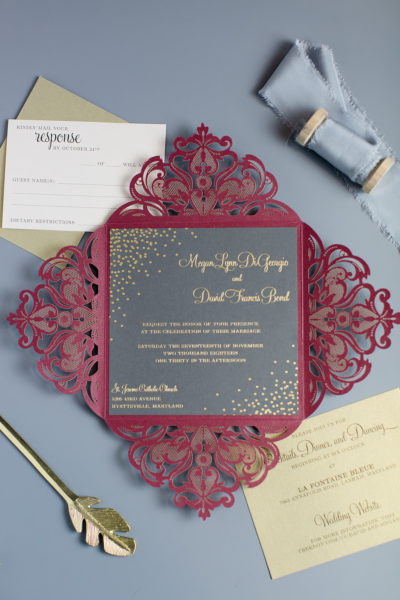 Megan & David's Foil Stamped Lasercut Invitation