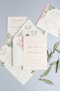 Yasmin & Matthew's Blush Floral Invitations