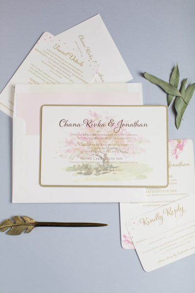 Chana-Rivka & Jonathan's Watercolor Wedding Invitations