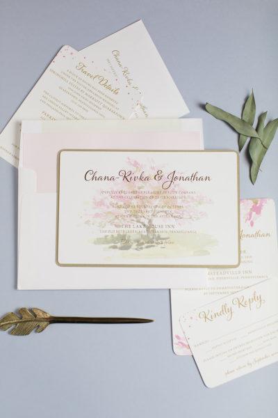 Chana-Rivka & Jonathan's Watercolor Wedding Invitations