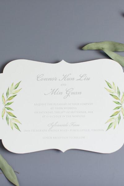 Connor & Min's Die-Cut Wedding Invitation