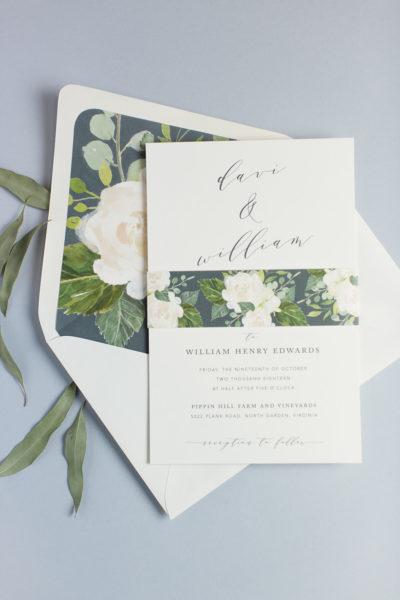 Davi & William's Floral Wedding Invitation Suite
