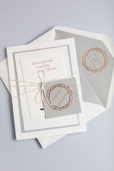 Genevieve & Alex's Foil Stamped Wedding Invitations