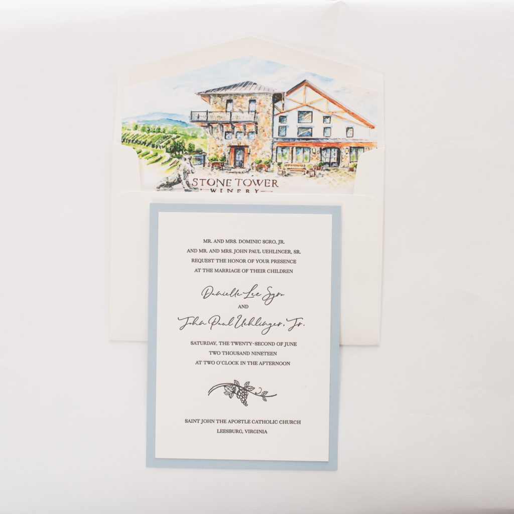 custom layered wedding invitation with sketch of grapevine on layered letterpress invitation.