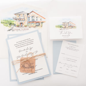 Danielle & JP's Custom Letterpress Wedding Invitations