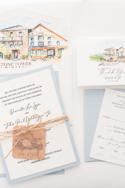 Danielle & JP's Custom Letterpress Wedding Invitations