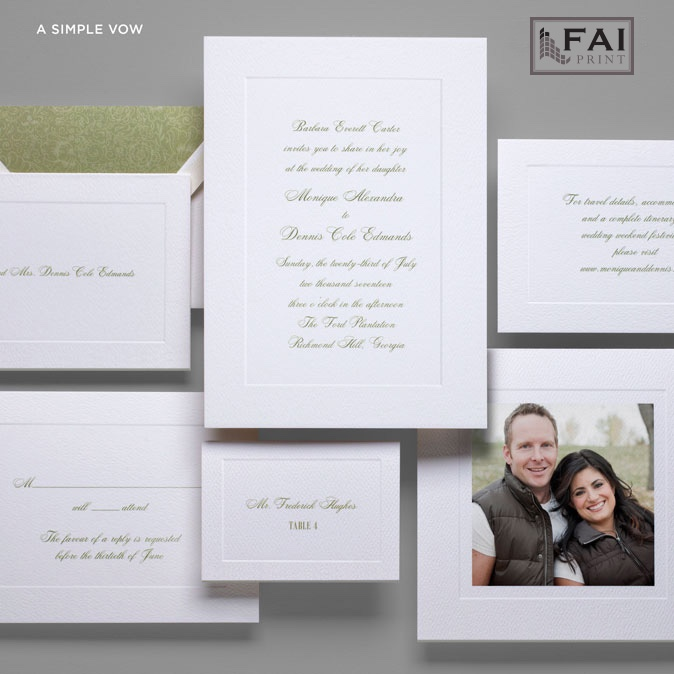 Traditional, elegant script panel wedding invitation with embossed frame called A Simple Vow is available in Northern Virginia at Staccato