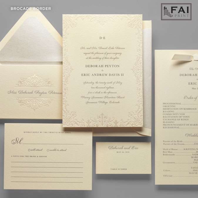 Stunning ivory wedding invitation features a delicate Brocade Border and simple monogram.  Luxury wedding invitations are available in Fairfax, VA at Staccato.