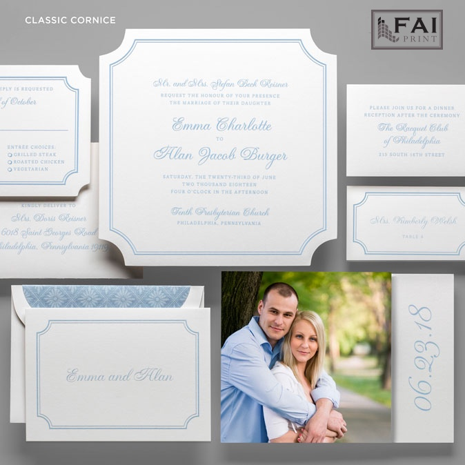 Classic Cornice wedding invitation at Staccato features a square shape with inset corners framed with a double line.  Staccato serves Virginia, Maryland, D.C., and ships nationwide.