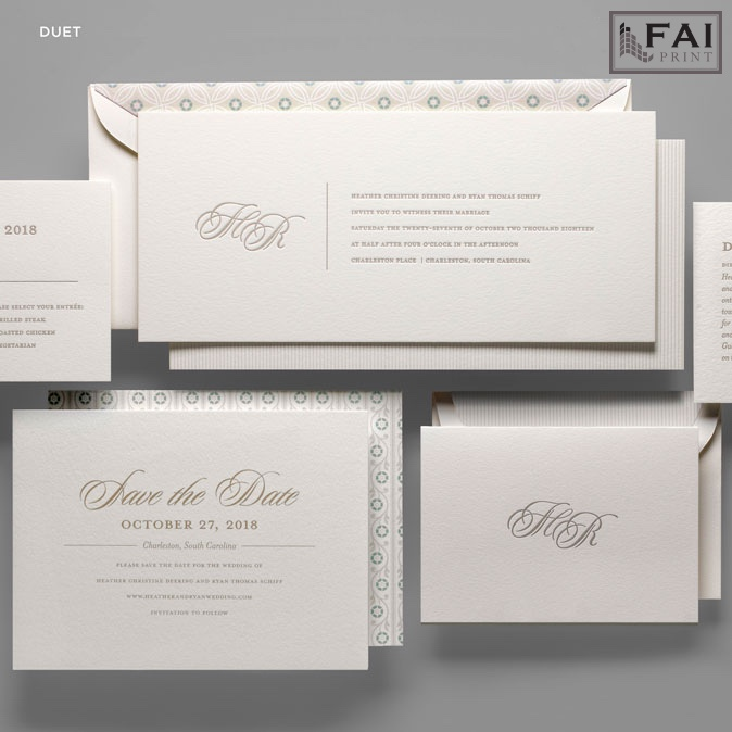 Duet wedding invitation features a contemporary horizontal layout with a monogram on the left and simple text on the right.  Sweet envelope lining pattern ties all the pieces together.  Luxury wedding invitations by FAI are available at Staccato in Fairfax, VA.