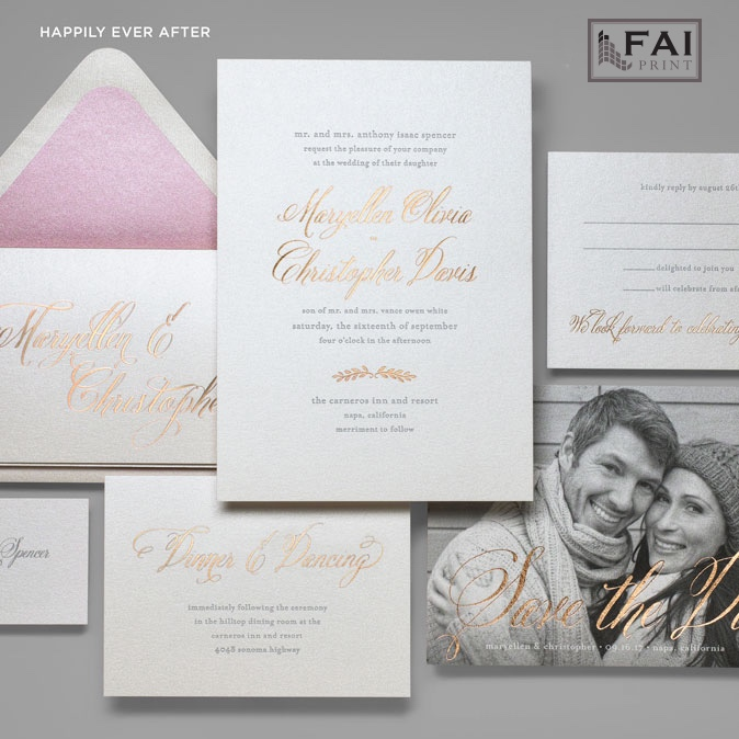 A splash of metallic foil stamping in a pretty calligraphy script is the highlight of this modern wedding invitation available at Staccato in Northern Va.