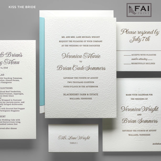 Kiss The Bride wedding invitation features a sweet embossed texture behind classically set text with a pop of color in the envelope liner.  FAI Print wedding invitations are available at Staccato in the Washington, D.C. metro area.
