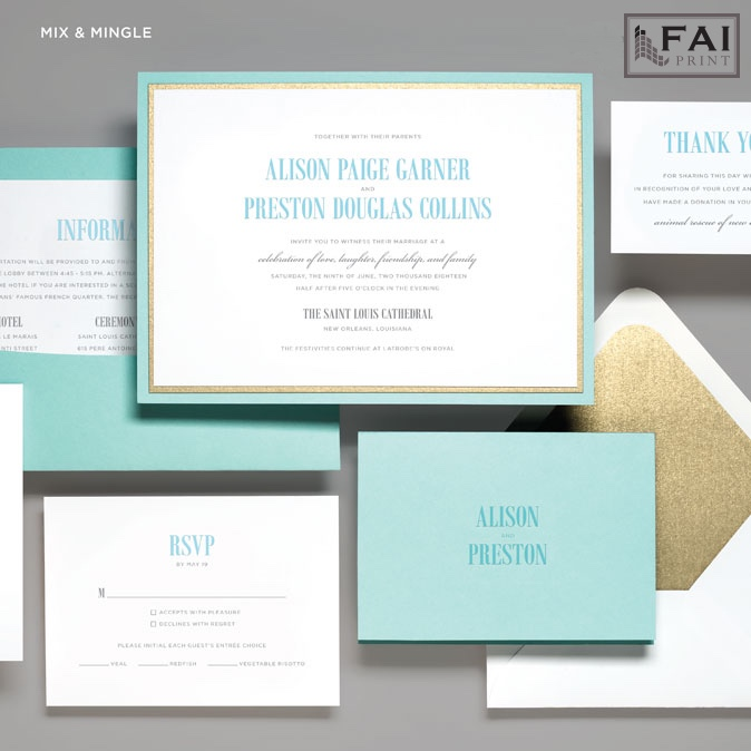 Layers of accent paper are the highlight of Mix And Mingle - a contemporary wedding invitation featured at Staccato in Northern, Virginia.