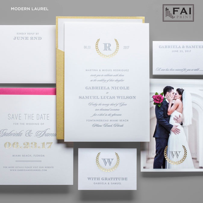 Modern Laurel wedding invitation features a monogram and wedding date across the top.  Foil stamped laurel makes a bold accent, and this invitation can be presented in a gold pocket for a packaged effect.  Wedding invitations in Fairfax, Virginia are available by appointment at Staccato.