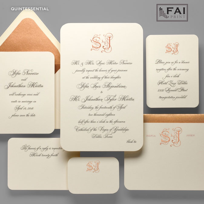 Quintessential is a beyond classic wedding invitation featuring all script lettering and a formal calligraphy monogram.  Rounded corners on ivory paper make this feel almost vintage with copper accents.  Formal wedding invitations by FAI Print are available at Staccato in the Washington, DC metro area.