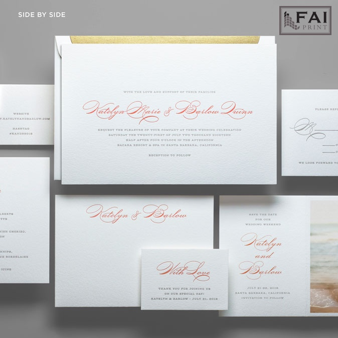 The horizontal layout of this Side By Side wedding invitation allow the couple's names to be presented on the same line.  A modern take on a traditional wedding invitation.  Available at Staccato in Fairfax, Virginia.