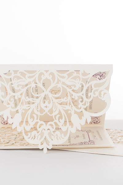 Stephanie & Evan's Custom Lasercut and Foil Wedding Invitations