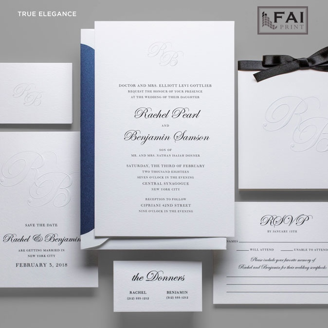True Elegance wedding invitation features embosed monogram and traditional text setting.  Luxury wedding invitations in Northern Virginia are available at Staccato.