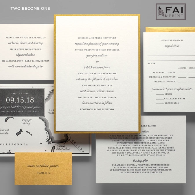 Two Becomes One wedding invitation is a traditional layout with modern use of fonts.  Simple and sweet, the text does the speaking.  A gold backing layer frames the classic invitation.  FAI Print invitations are available in Virginia at Staccato.