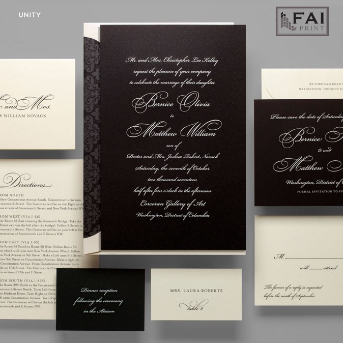 The bold and dramatic effect of Unity comes from the white text on black background and beautiful formal script lettering.  Formal wedding invitations available at Staccato in the Washington DC metro area.