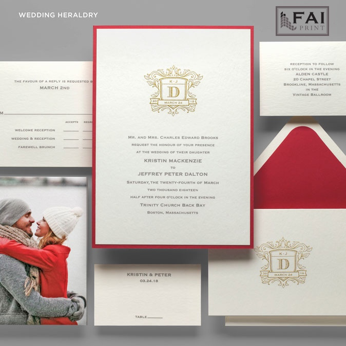 Wedding Heraldry features an ornate monogram crest and choice of border color.  Formal wedding invitations by FAI Print are available at Staccato in Northern Virginia.
