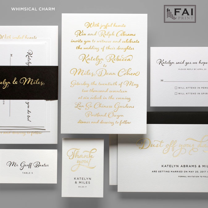 Whimsical Charm wedding invitation features modern calligraphy and a dramatic accent belly band.  Foil stamped wedding invitations at Staccato in Fairfax, Virginia