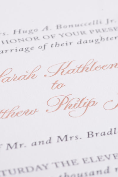 Sarah & Matthew's Custom Letterpress & Foil Wedding Invitations