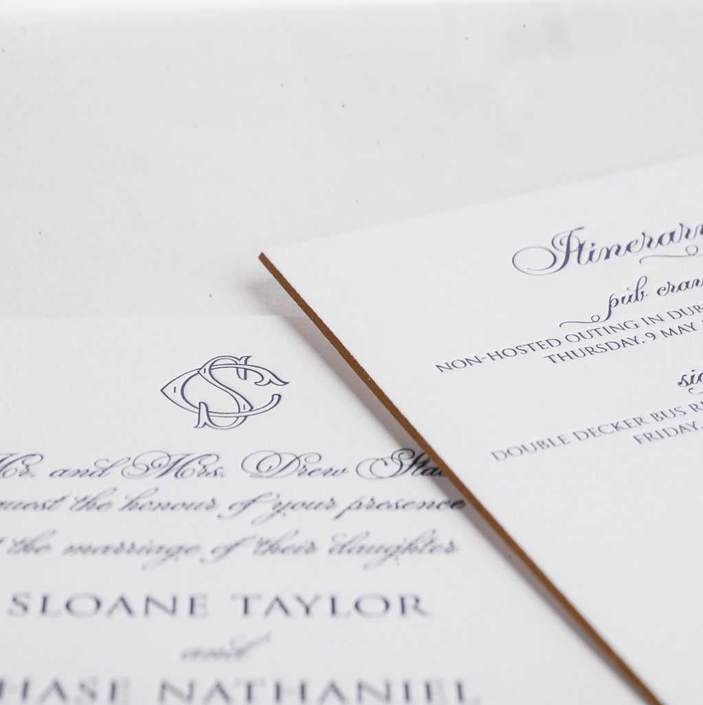 beveled and foiled edges make this traditional letterpress invitation a true standout!