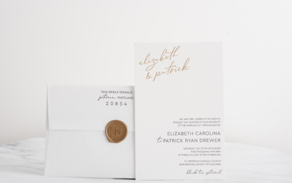 custom black letterpress and gold foil printed wedding invitations for Lizz and Patrick were double thick and sealed with a wax seal. A modern, clean, formal invitation.