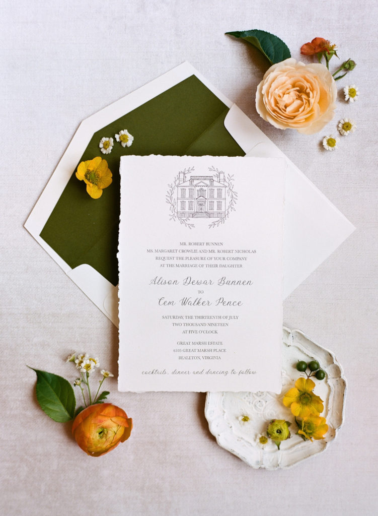 hand torn edges on this beautiful custom invitation are the perfect finishing touch.  Accented with a pretty green envelope liner. Custom invitations in northern Virginia by Staccato.