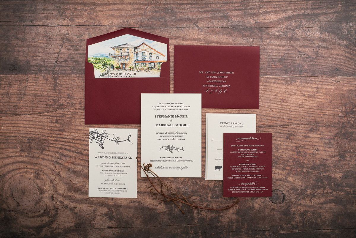 Burgundy Envelope features watercolor art of Stone Tower Winery on this beautiful letterpress wedding invitation exclusively found at Staccato in Fairfax, Virginia.