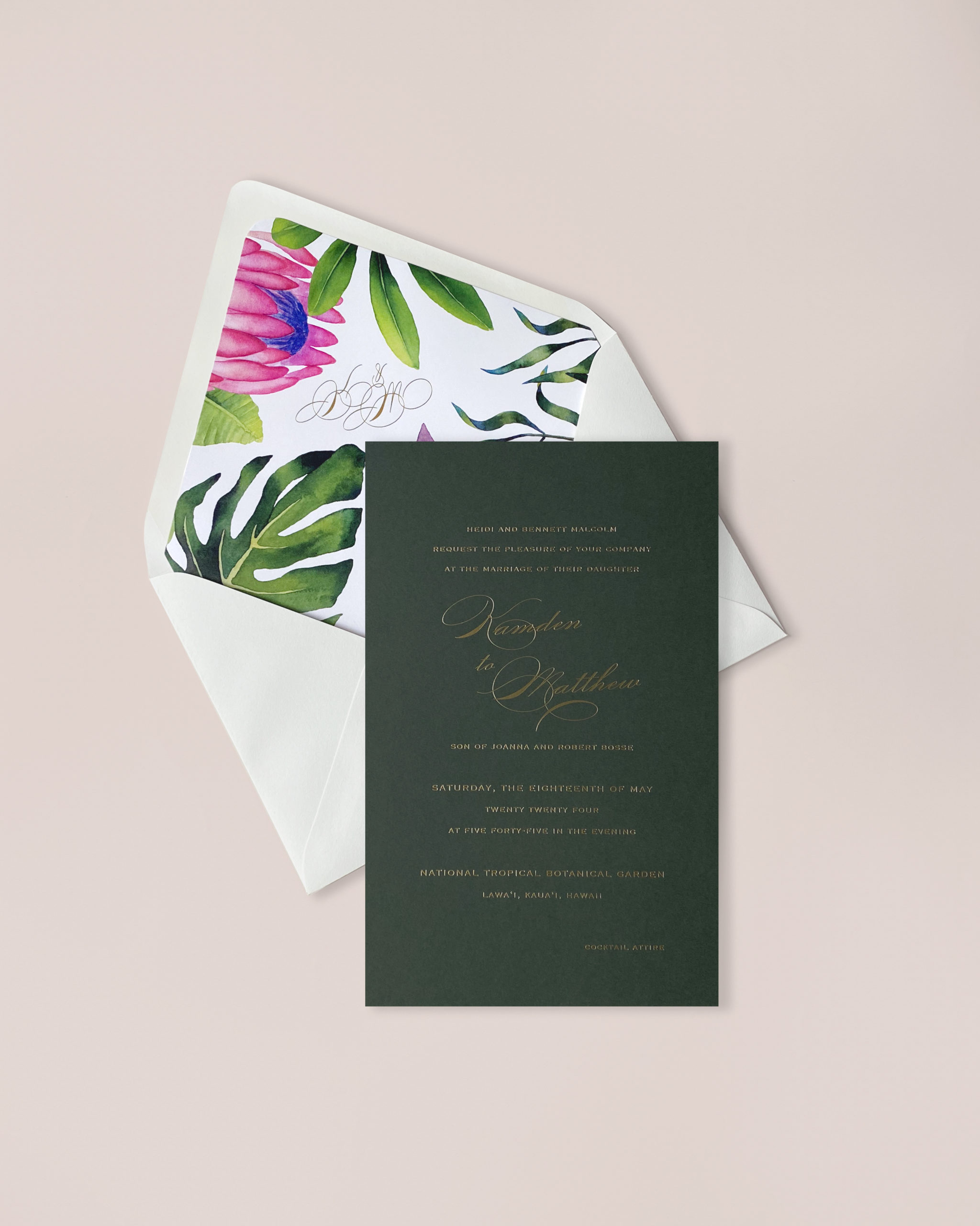 tropical botanical envelope liner is the perfect accent to this dramatic green wedding invitation with foil stamped text.  smitten on paper wedding collections are available in the DC metro area at Staccato.