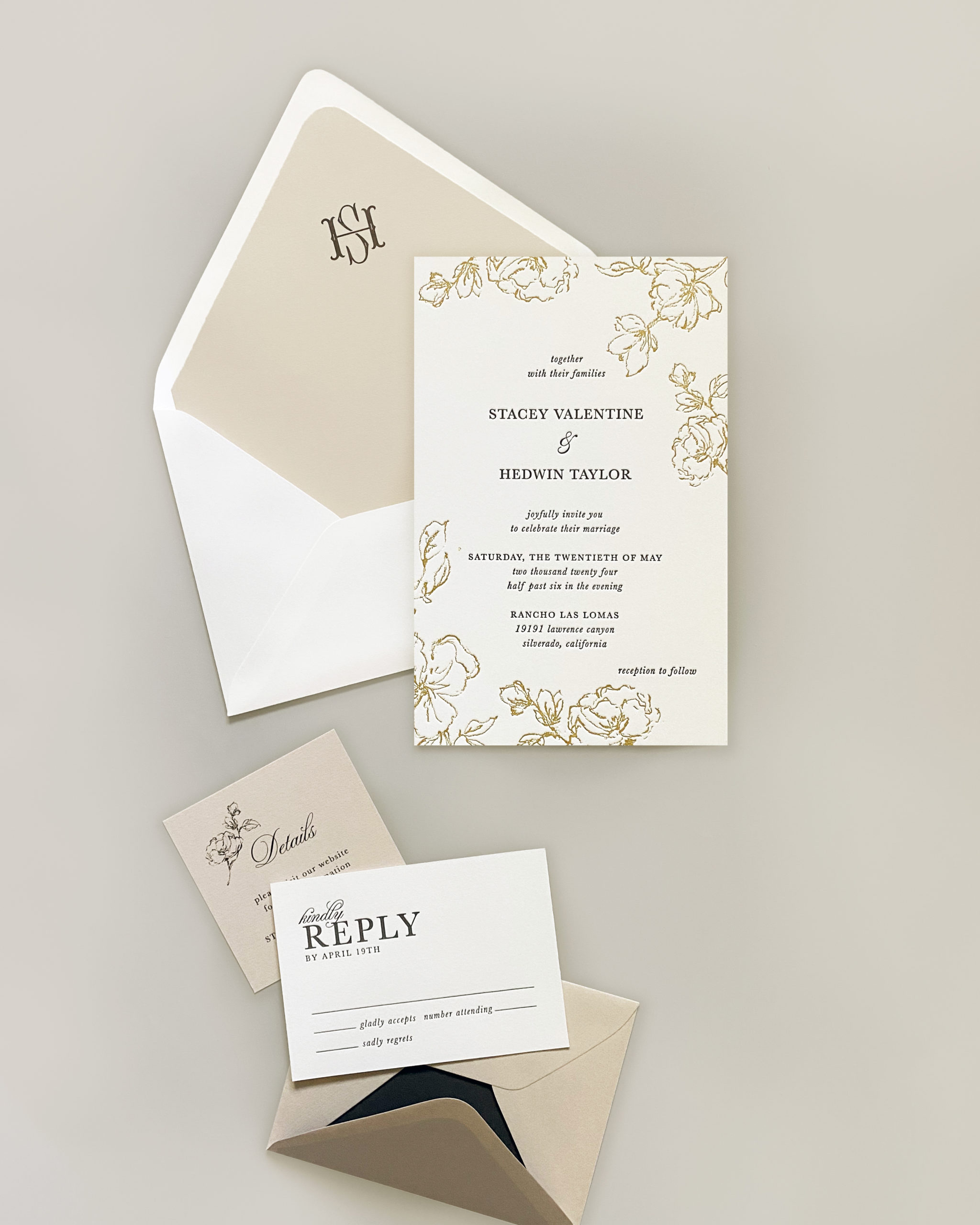 Modern 2-color letterpress wedding invitation features a border of sketched florals and a monogrammed envelope liner.  The entire Smitten on Paper collection is available at Staccato in the DC metro area.