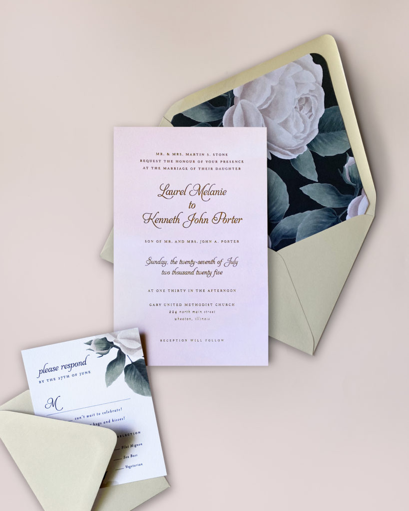 Pink watercolor wash with gold foil stamping balances nicely against a boldly colored envelope liner.  Luxury wedding invitations in the DC metro area.