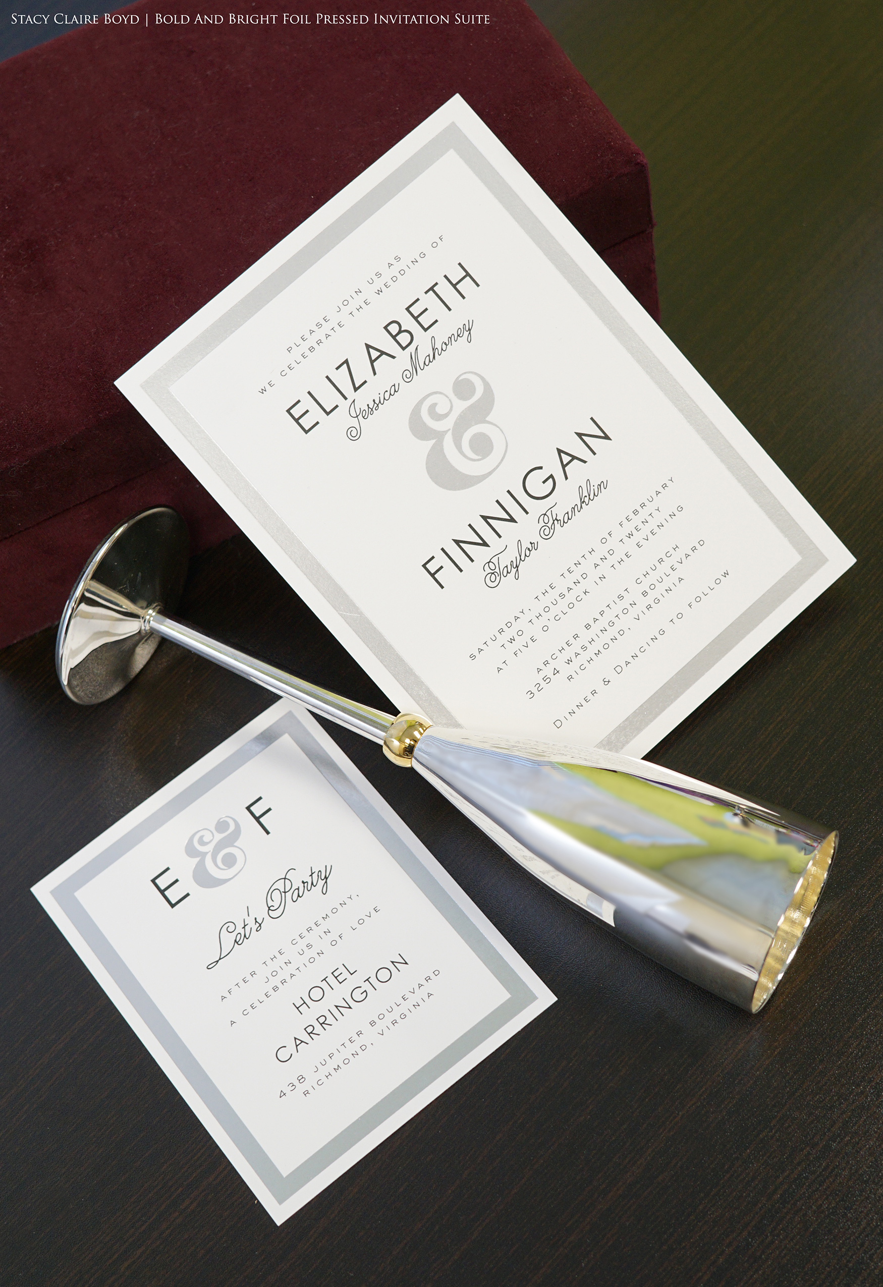 """Foil stamped wedding invitation is formal with a touch of """"wow"""""""