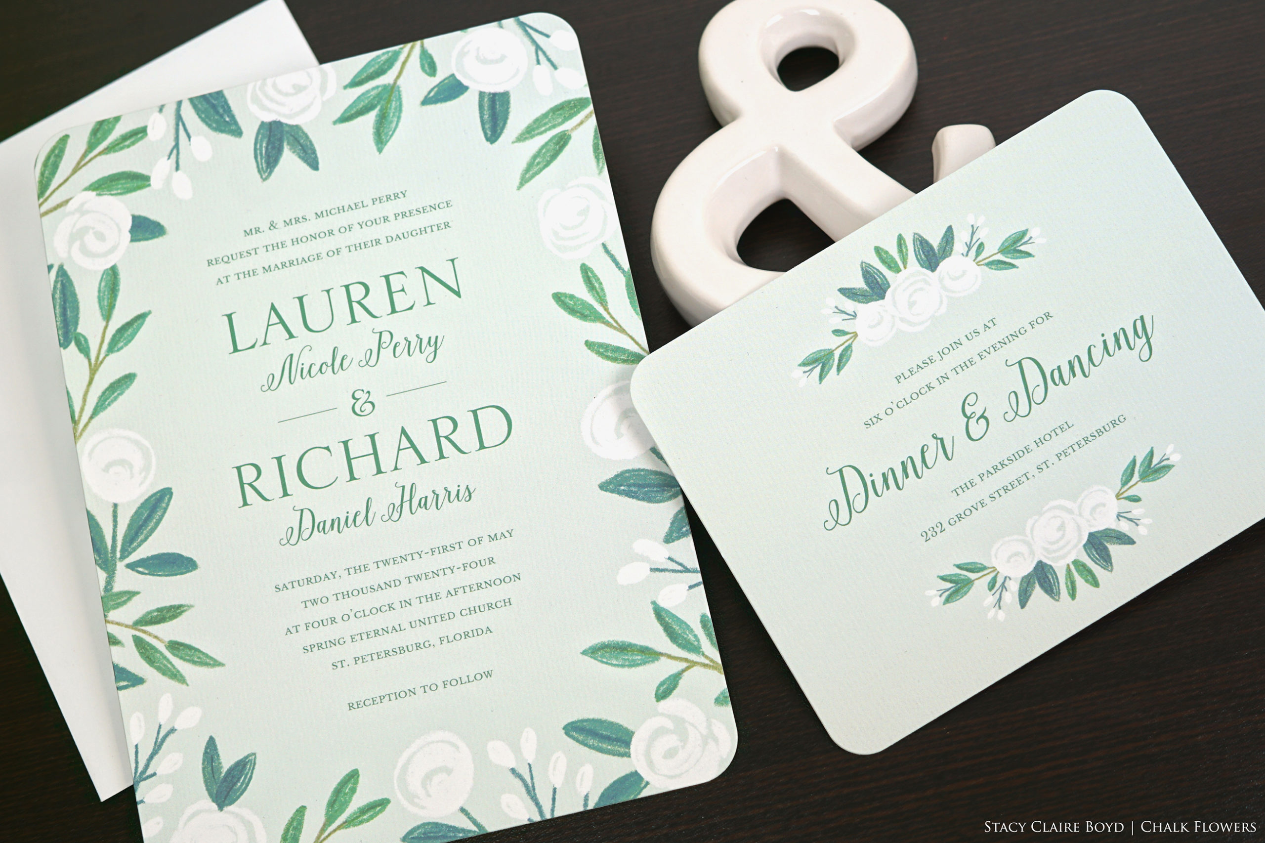 Chalk Flowers wedding suite by Stacy Claire Boyd features primitive floral artwork on a mint green background.