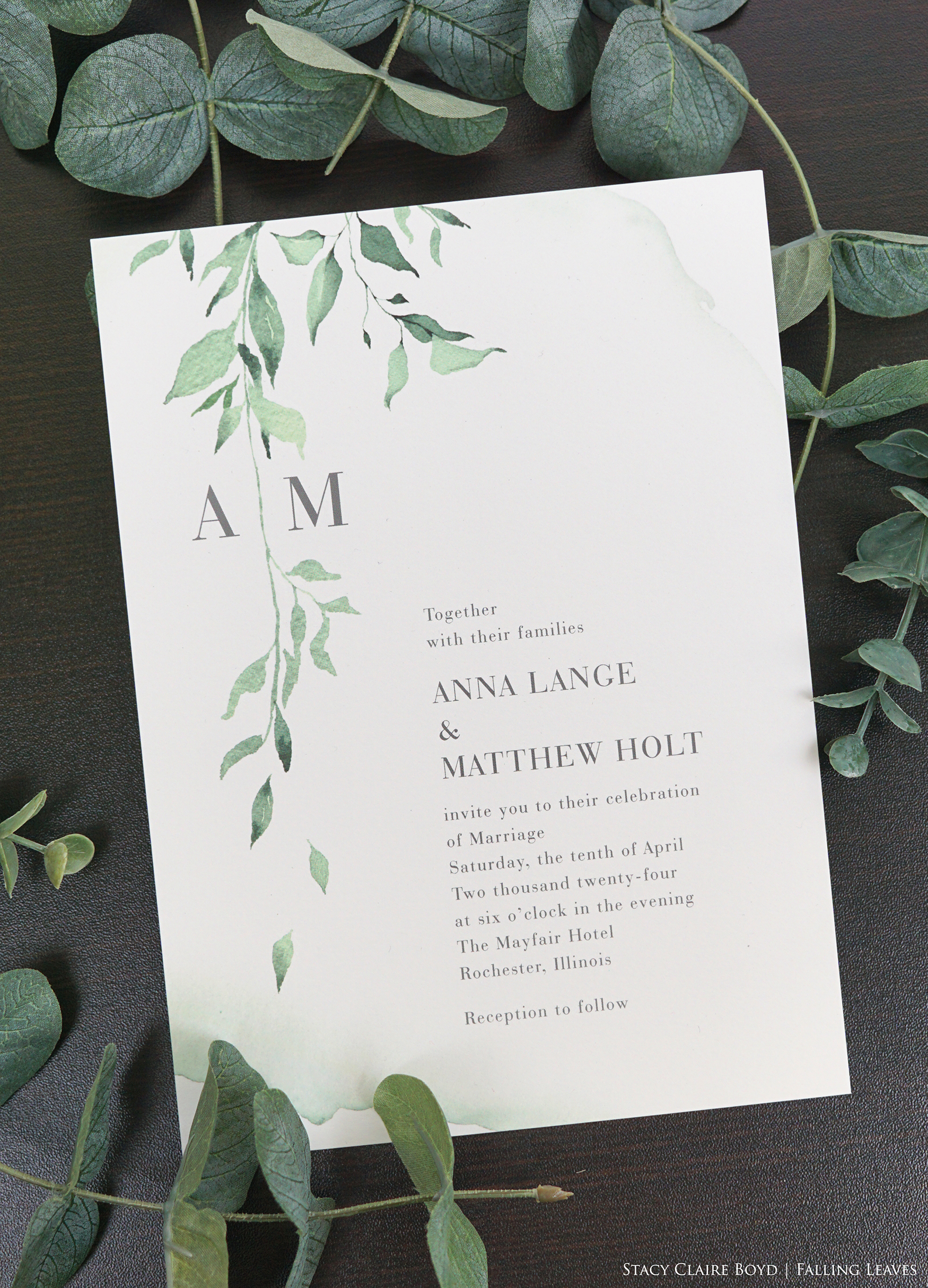 Falling leaves flat printed wedding invitation is an affordable wedding stationery suite available in Northern Virginia at Staccato.